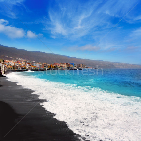 Preto areia praia tenerife canárias água Foto stock © lunamarina