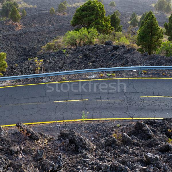 ラ 道路 詳細 溶岩 風景 ストックフォト © lunamarina