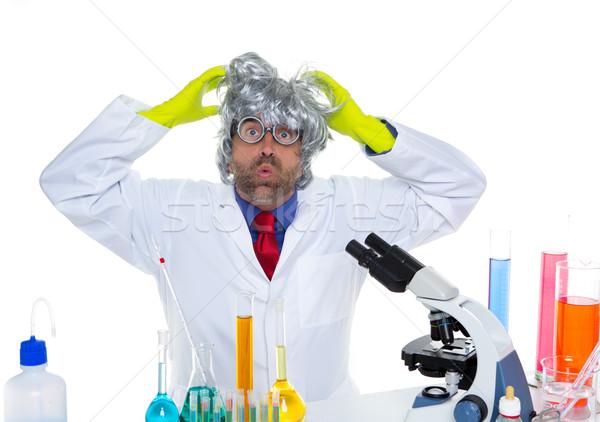 őrült őrült stréber tudós vicces labor Stock fotó © lunamarina