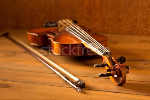 Classic music violin vintage in wooden background Stock photo © lunamarina