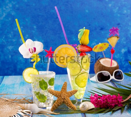 Stockfoto: Tropische · cocktails · Blauw · hout · zand · seks
