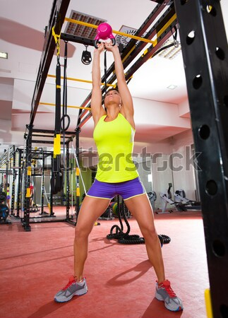 Crossfit fitness swing oefening training gymnasium Stockfoto © lunamarina