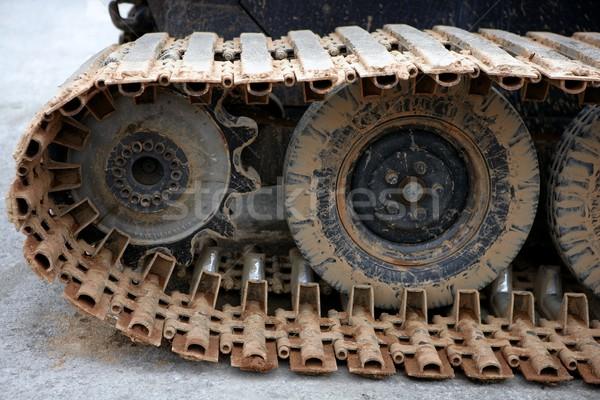 Tırtıllar çelik tekerlekler ayrıntılar Metal kış Stok fotoğraf © lunamarina