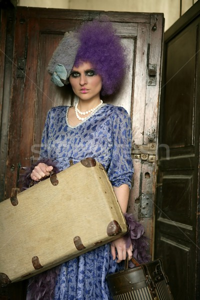 modern fashion vanguard woman with baggage Stock photo © lunamarina