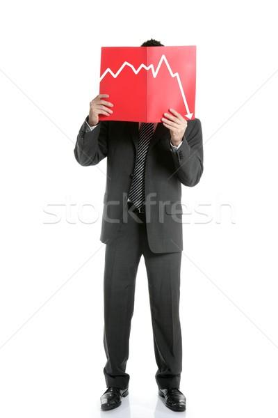Geschäftsmann jungen negative Tabelle isoliert Stock foto © lunamarina