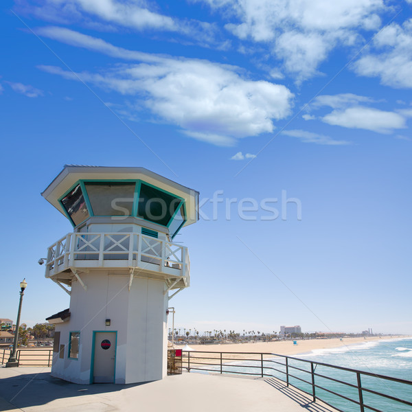 Huntington beach main lifeguard tower Surf City California Stock photo © lunamarina