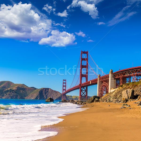 San Francisco Golden Gate Bridge plage Californie USA ciel Photo stock © lunamarina