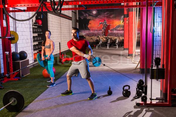Mulher homem ginásio grupo exercício Foto stock © lunamarina