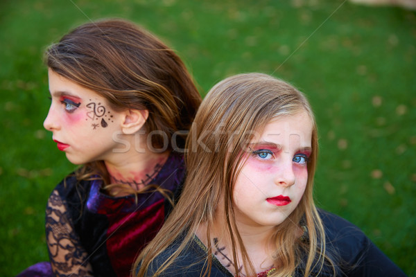 Halloween maquillage Kid filles yeux bleus extérieur Photo stock © lunamarina
