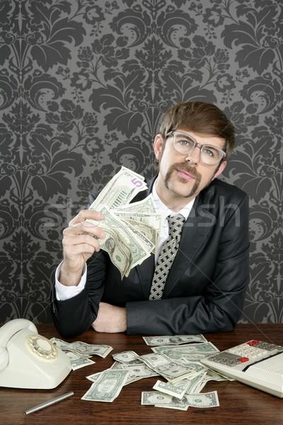 üzletember stréber könyvelő dollár jegyzetek régi tapéta Stock fotó © lunamarina
