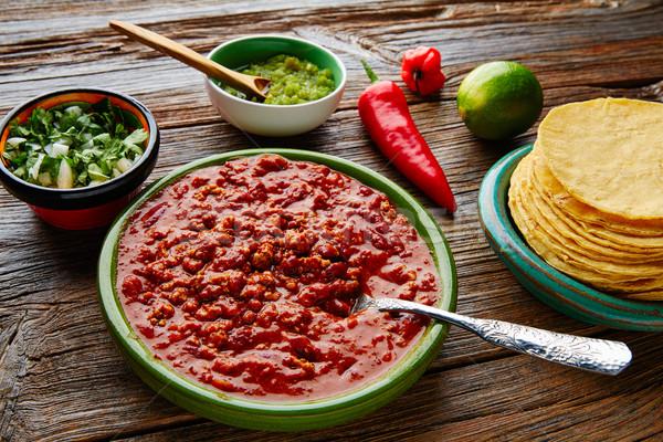 Chili with meat platillo Mexican food Stock photo © lunamarina
