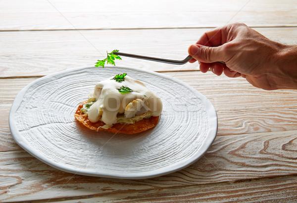 Fish mayonnaise and parsley crunchy tortilla Stock photo © lunamarina