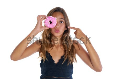 Teen girl holding donuts goggles on her eyes Stock photo © lunamarina