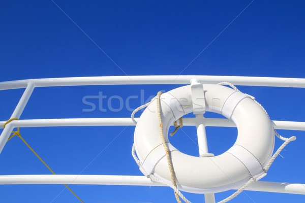 boat buoy white hanged in railing summer blue sky Stock photo © lunamarina