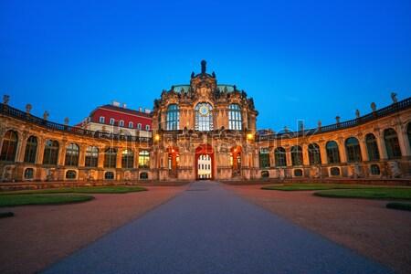 Dresde Allemagne coucher du soleil ville jardin art Photo stock © lunamarina