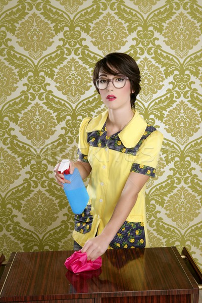 Huisvrouw nerd retro schoonmaken uitrusting Stockfoto © lunamarina