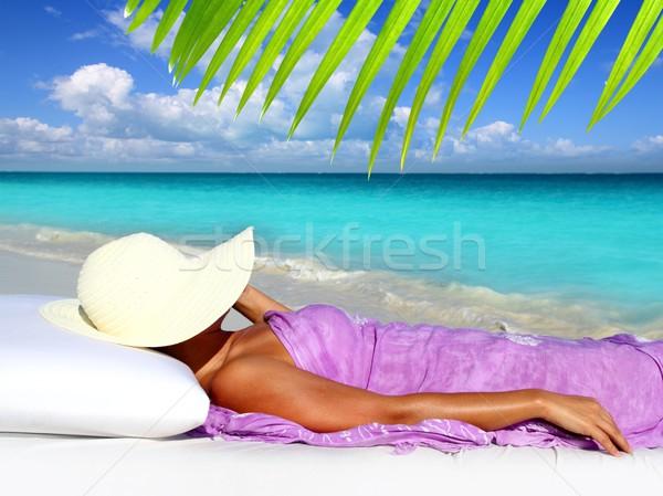 Caribbean tourist resting beach hat woman Stock photo © lunamarina