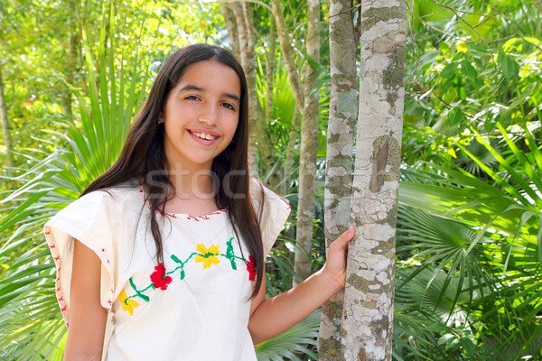 Mexican indian latin girl mayan embroidery dress Stock photo © lunamarina