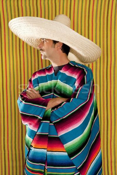 Mexican profile man typical poncho sombrero serape Stock photo © lunamarina