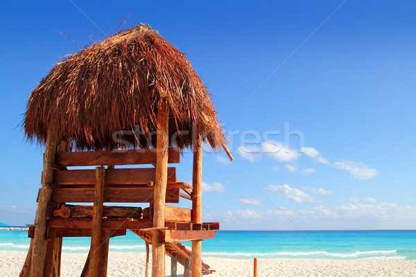 lifeguard wooden sun roof caribbean tropical beach Stock photo © lunamarina