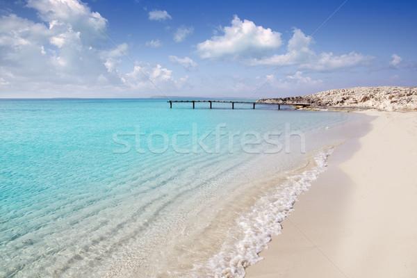 Stock photo: Formentera beach wood pier turquoise balearic sea