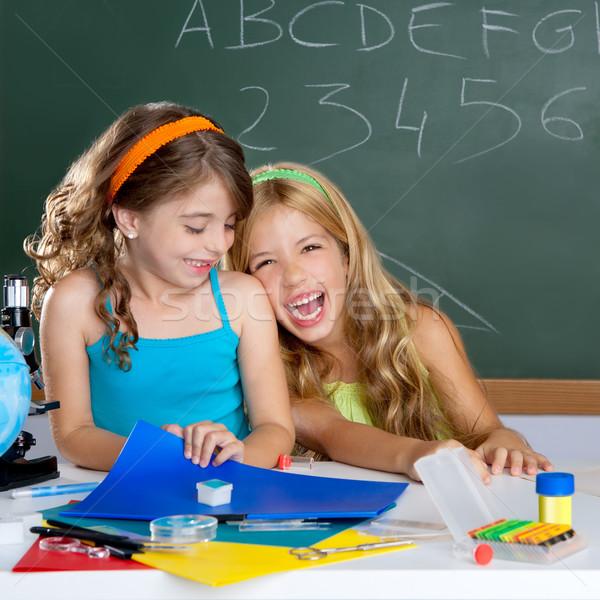 Stock fotó: Boldog · nevet · gyerekek · diák · lányok · iskola