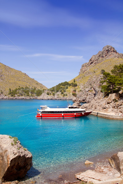 Escorca Sacalobra beach in north Mallorca with boat Stock photo © lunamarina