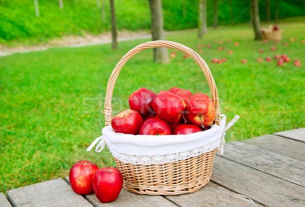 basket of red apples on wood floor Stock photo © lunamarina