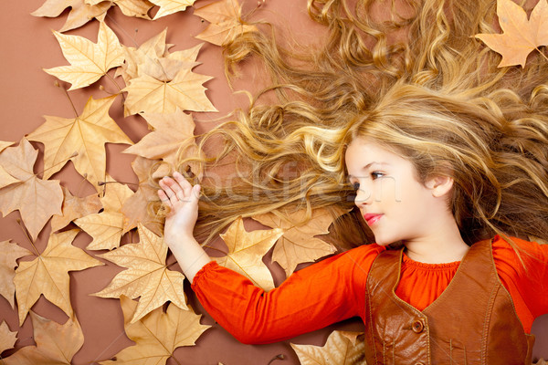 Photo stock: Automne · automne · peu · blond · fille · séché