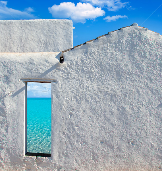 Balearic islands idyllic beach from house door Stock photo © lunamarina