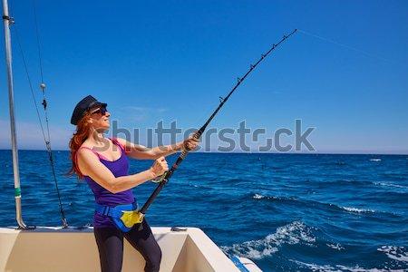 Bikini rybak kobieta tuńczyka łodzi Zdjęcia stock © lunamarina