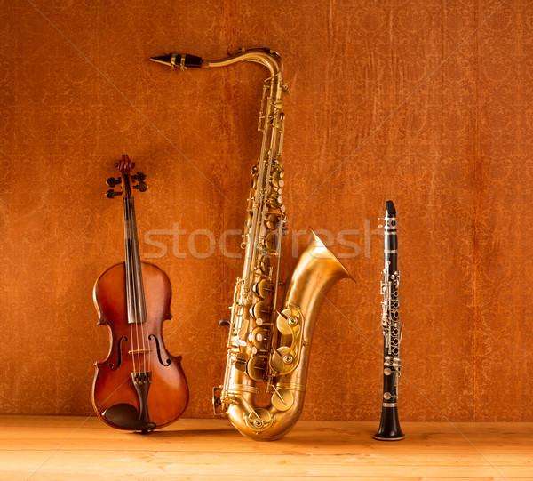 Classic music Sax tenor saxophone violin and clarinet vintage Stock photo © lunamarina