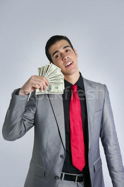 Foto stock: Empresario · dólar · notas · traje · empate · jóvenes