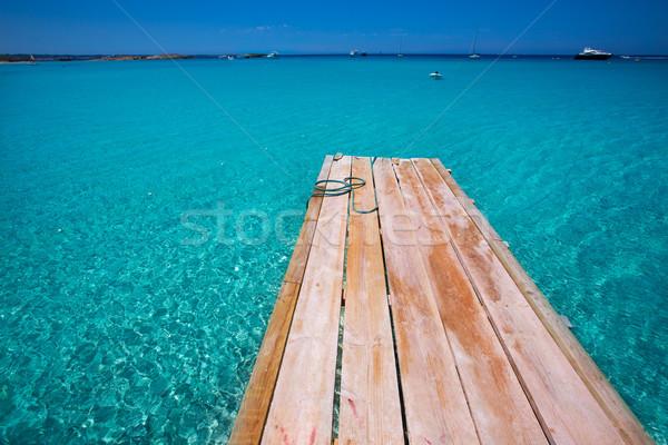 Formentera Ses Illetes beach pier Illetas and Ibiza Stock photo © lunamarina