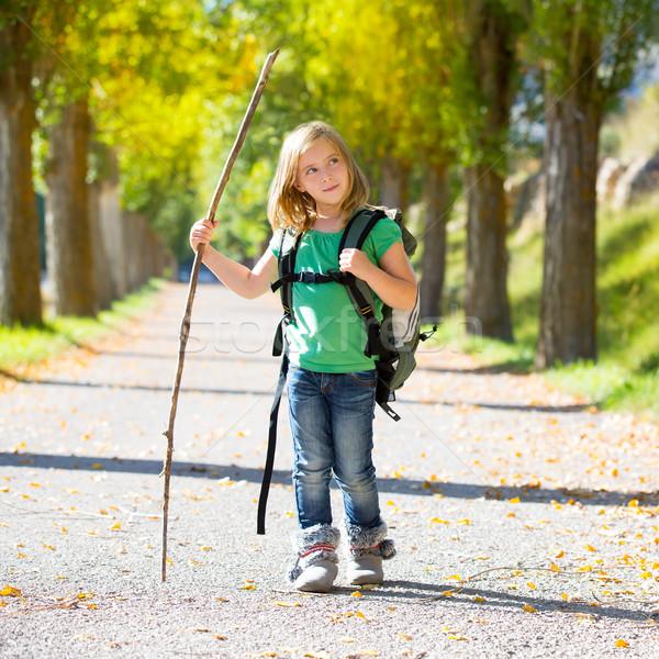 探險者 孩子 女孩 步行 背包 商業照片 © lunamarina