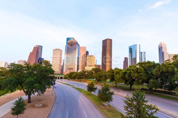 Houston sziluett naplemente Texas USA égbolt Stock fotó © lunamarina