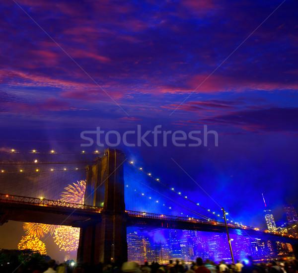 July 4th 2014 fireworks Brooklyn bridge Manhattan Stock photo © lunamarina