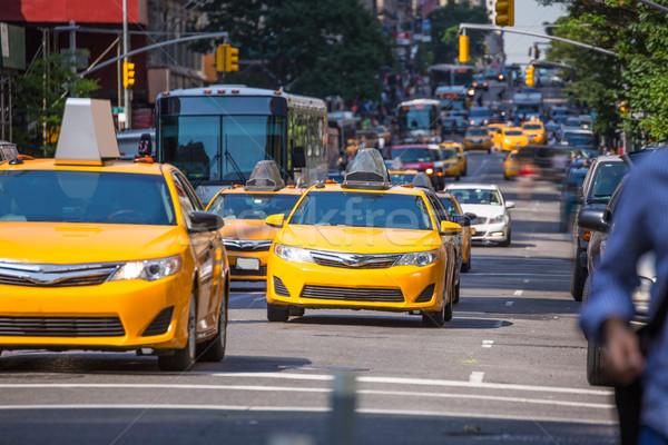 Fift avenue yellow cab 5th Av New York Manhattan Stock photo © lunamarina