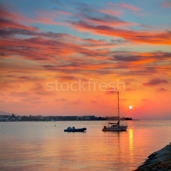 Tengerpart naplemente mediterrán Spanyolország alkonyat felhők Stock fotó © lunamarina