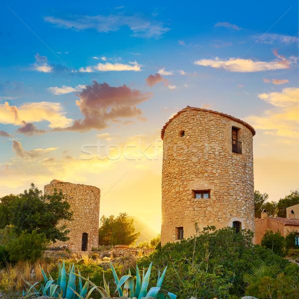 Javea Xabia el molins at sunset in Alicante Stock photo © lunamarina