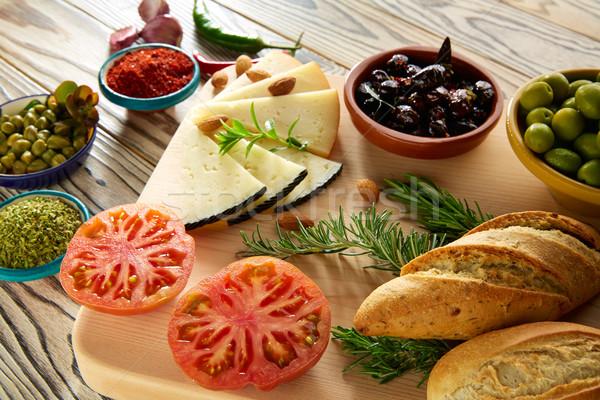 地中海料理 パン 油 オリーブ チーズ スパイス ストックフォト © lunamarina