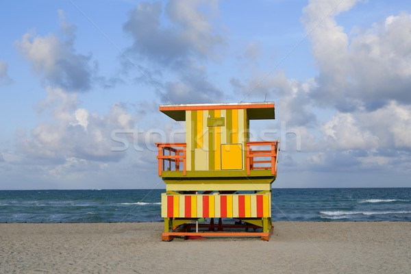 Lifeguard houses in Miami Beach Stock photo © lunamarina