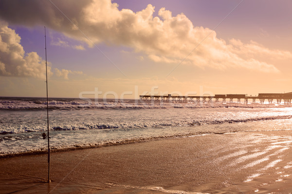 Praia Flórida pier EUA costa vara de pesca Foto stock © lunamarina
