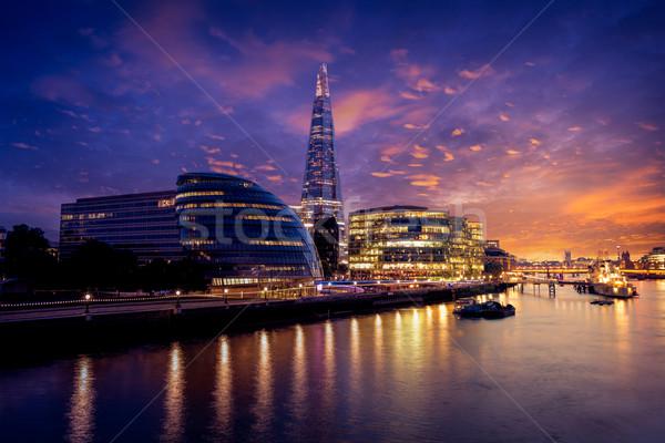 London sziluett naplemente város előcsarnok Temze Stock fotó © lunamarina