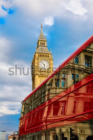 Big Ben Clock tower and London Bus in UK Stock photo © lunamarina