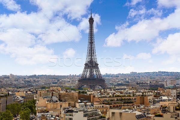 Párizs Eiffel-torony sziluett légi Franciaország légifelvétel Stock fotó © lunamarina