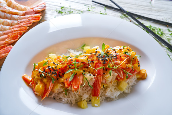 Fruits de mer rouge étriller crevettes restaurant Photo stock © lunamarina