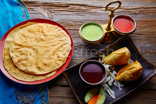 Samosas with Papadam red green sauces Stock photo © lunamarina