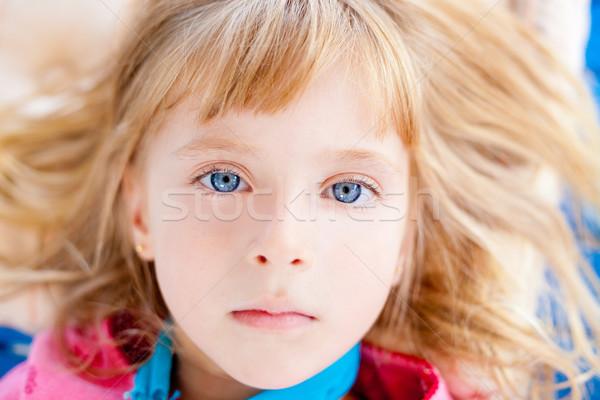 Gyönyörű szőke kék szemek lány közelkép arc Stock fotó © lunamarina