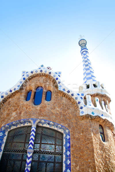Barcelona Park Guell Gingerbread House of Gaudi Stock photo © lunamarina